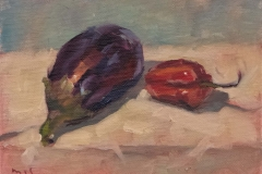 181115 Aubergine and Habanero Pepper Study 5 x 7 inches kevin mcsherry still life Morning and evening art classes in Dublin