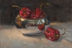 181122 Silver & Habanero Peppers Study 5 x 7 inches kevin mcsherry still life