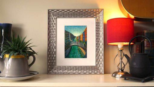080204 Ha'penny Bridge Dublin. Kevin McSherry Illustration affordable open edition print McSherryStudio.com