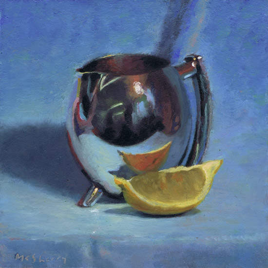 110606_33 Silver Jug on Blue oils painting alla prima study by Irish artist and art teacher in Dublin Kevin McSherry at McSherryStudio.com