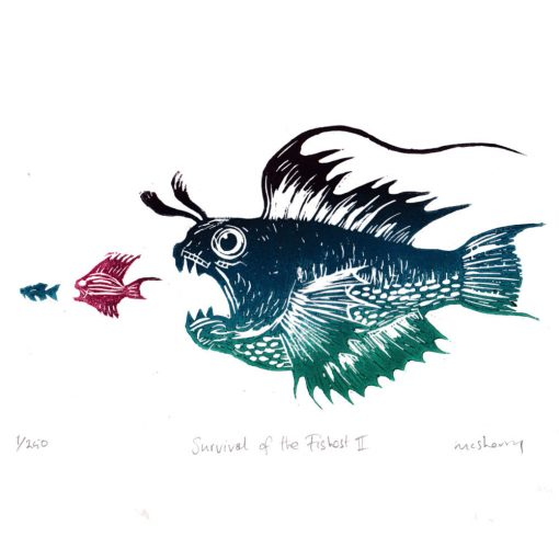 160929 Survival of the Fishest (3 Colour) Limited edition of 250. Each linocut block-print is hand-impressed on high quality watercolour paper. The print is signed, numbered and titled on the print itself by me