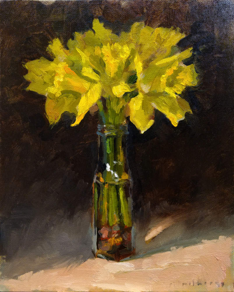 "daffodils oils on canvas panel 8"" x 10"" Spring Art Classes in Dublin"