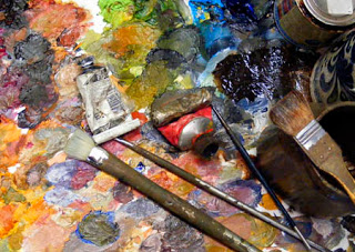 oils palette colour paint brush tubes acrylics turpentine liquin linseed