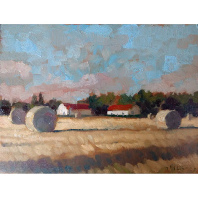 oils alla prima painting landscape field farm france