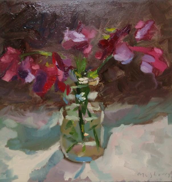 """Ophelia's Sweetpeas. Oils on panel. 7"""" x 7"""""""