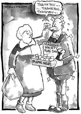 Masochist flag day Cartoon by Kevin McSherry, alias Titch McCoy