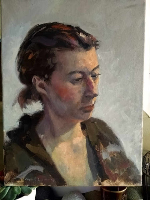 Oils study portrait on canvas of girl with purple hair at Rathmines Art workshop