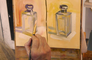 Oils on panel studies of glass on yellow background by student at Kevin McSherry's art class in south Dublin
