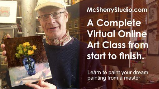 Oils painting alla prima art classes by Irish artist and art teacher in Dublin Kevin McSherry at McSherryStudio.com