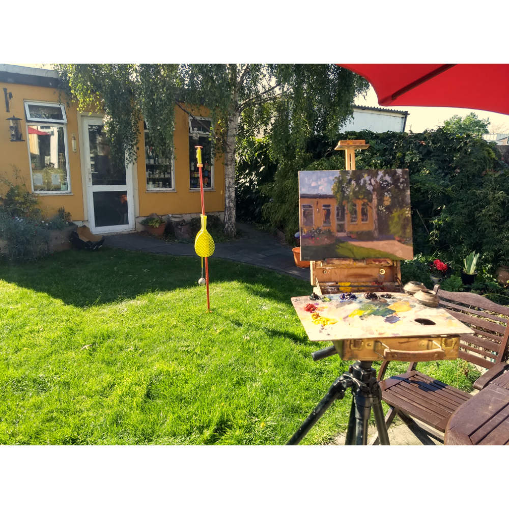 En plein air landscapes painting in the garden