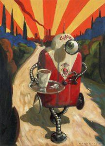 050425 Coffeebot. Kevin McSherry Illustration affordable open edition print McSherryStudio.com