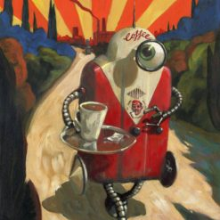 050425 Coffeebot. Kevin McSherry Illustration affordable open edition print McSherryStudio.com