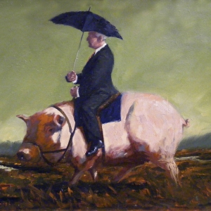 """Price of a Pig. Oils on stretched canvas. 40"""" x 30"""" Kevin McSherry"""