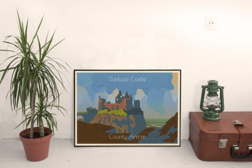 161117 Dunluce Cool Retro Poster Print by Scooterola and Kevin McSherry Irish artist