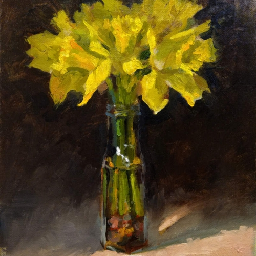 """Daffodils oils painting on panel. 8"""" x 10"""" Kevin McSherry"""