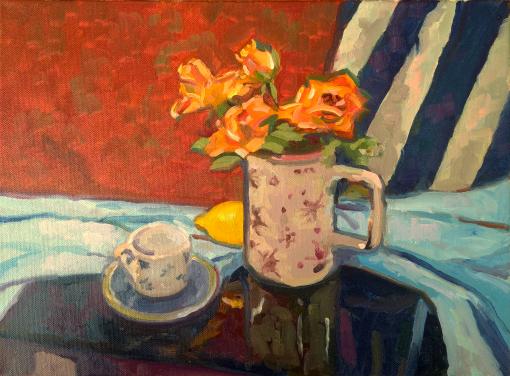 200520 Roses After Samuel Peploe 7 x 10 oils paper kevin mcsherry