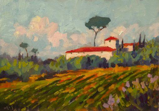 200527 Tuscan Villa kevin mcsherry painting oils paper sunshine summer landscape 11x7