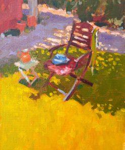 200603 kevin mcsherry garden chair painting oils paper sunshine summer landscape 11x7