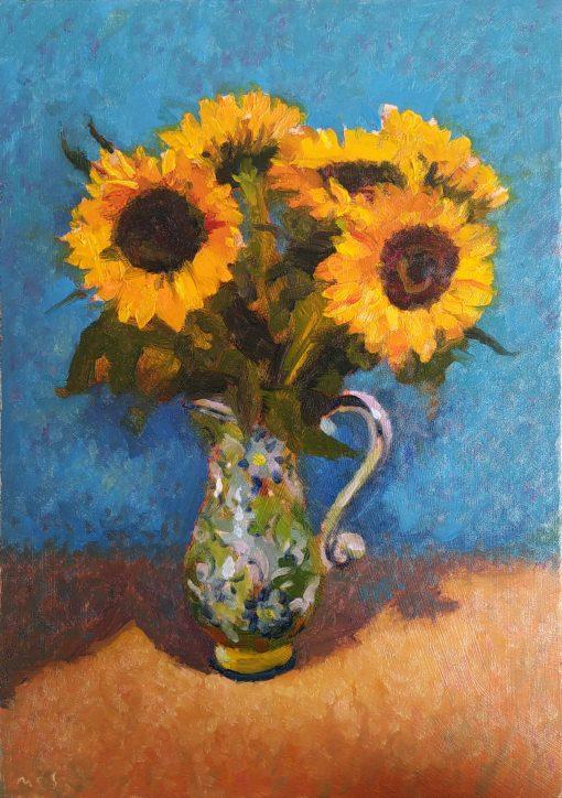 200708 sunflowers oils painting alla prima study by Irish artist and art teacher in Dublin Kevin McSherry at McSherryStudio.com