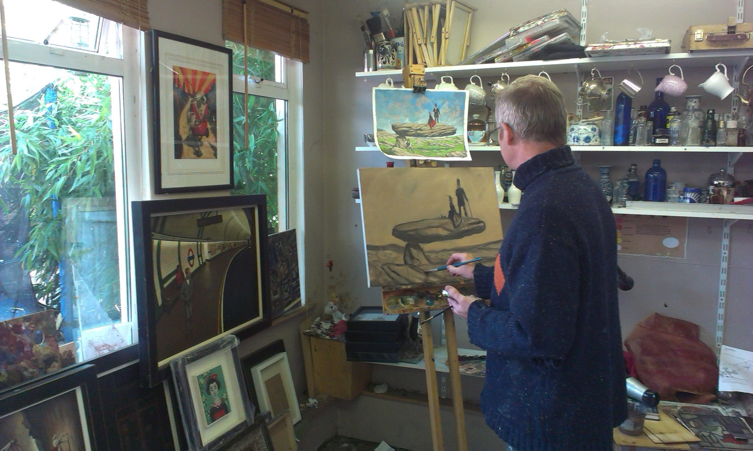 artist and art teacher kevin McSherry painting in his dublin studio