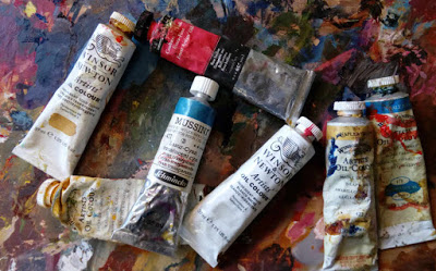 Tubes of various brands of artist quality oil paints
