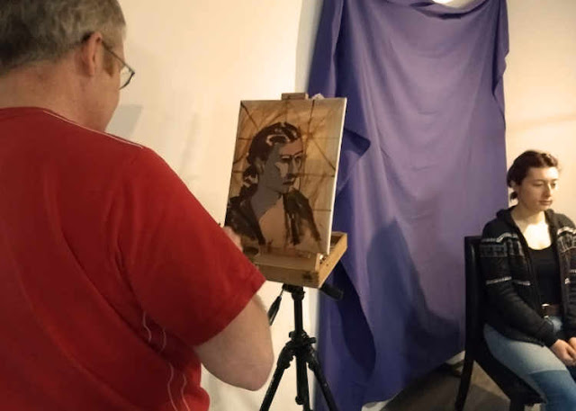 Oils study portrait on canvas blocking in demonstration Rathmines Art workshop