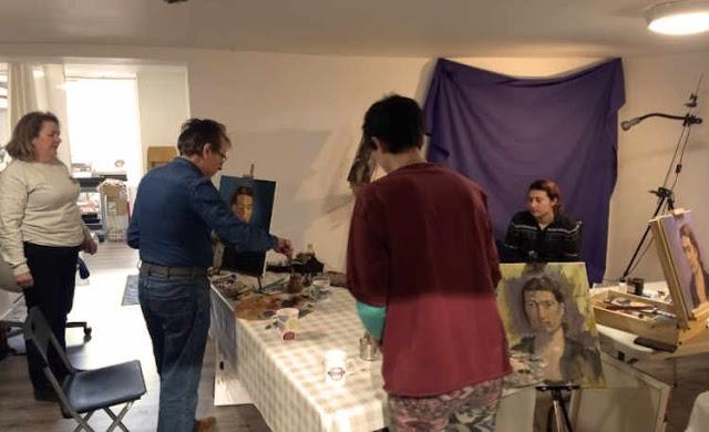 students painting oils portraits at rathmines art workshop