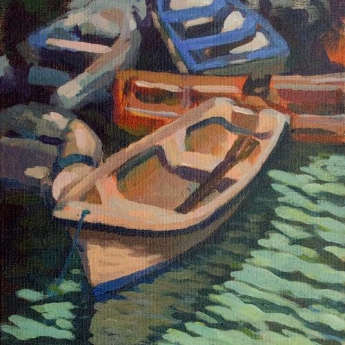 Boats at Glandore acrylics en plein air study 10×8