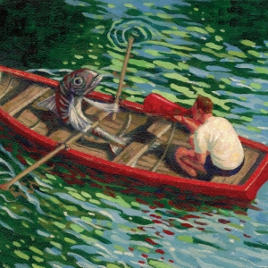 Fishboat Acrylics on Arches Paper. A3 Kevin McSherry