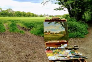 En plein air landscape demonstration canvas at An Grianan, County Louth