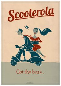 Get the Buzz Cool Retro Poster Print by Scooterola and Kevin McSherry Irish artist