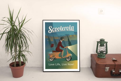 SC170505 Scooterola Girl Cool Retro Poster Print by Scooterola and Kevin McSherry Irish artist