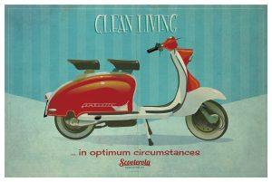 SC170601 Clean Living Poster Cool Retro Poster Print by Scooterola and Kevin McSherry Irish artist