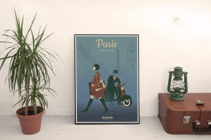 SC170808 Paris City of Love Cool Retro Poster Print by Scooterola and Kevin McSherry Irish artist