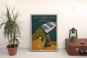 Switzerland Cool Retro Poster Print by Scooterola and Kevin McSherry Irish artist