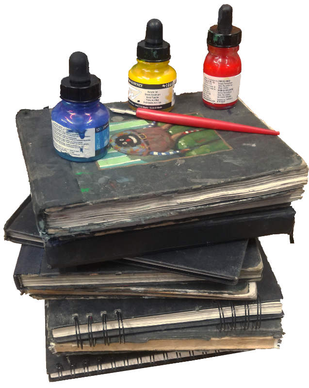 Stack of sketchbooks kevin mcsherry artist inky road podcast