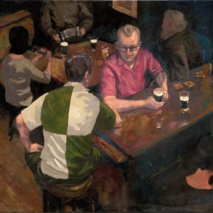 """A Conversation with Dad. Oils on stretched canvas. 20"""" x 16"""" Kevin McSherry"""