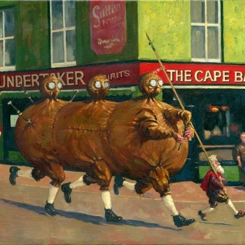 """The Full of the Bag Oils on stretched canvas 20"""" x 30"""" Kevin McSherry The Fighting Irish exhibition"""