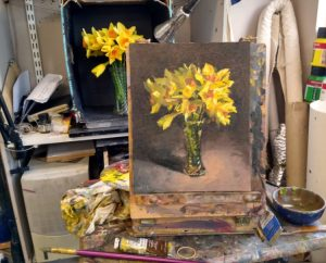 "Spring Study 8"" x 10"" oils on canvas panel still life set up at easel."