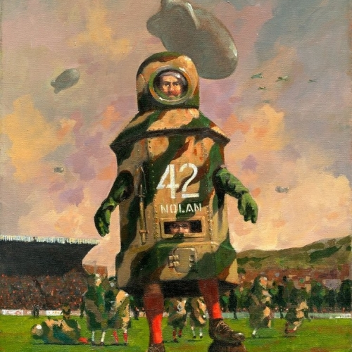 """Nolan of the Ninth Acrylics on stretched canvas. 16"""" x 20"""" Kevin McSherry The Fighting Irish exhibition"""