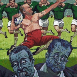 Ruggerdance Acrylics on Arches Paper. A3. Art for Irish Times Kevin McSherry